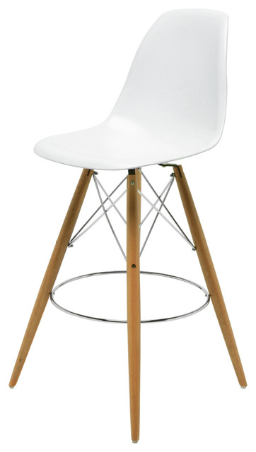 Eiffel Reproduction White Plastic Oak Wood Modern Barstool Pair industrial- bar-stools-  sc 1 st  Houzz & Eiffel Reproduction White Plastic Oak Wood Modern Counter Stool ... islam-shia.org