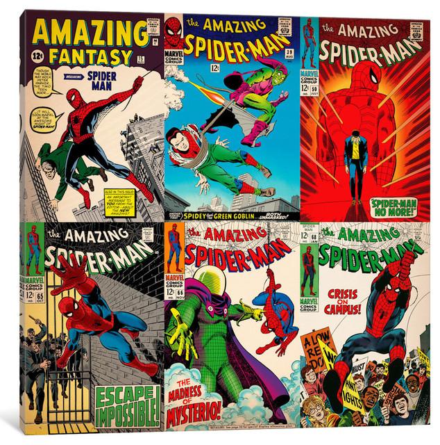"""book Spider-Man Comics Covers 3"" By Marvel Comics, 18x18x0.75""."