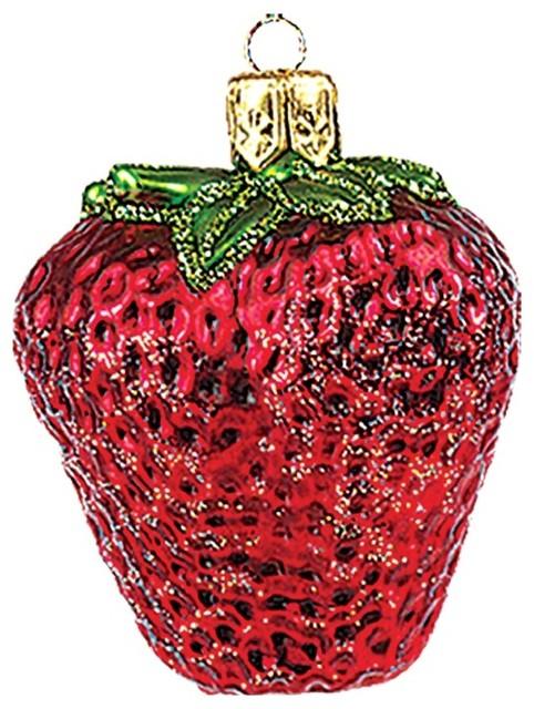 Mini Strawberry Polish Mouth Blown Glass Christmas Ornament