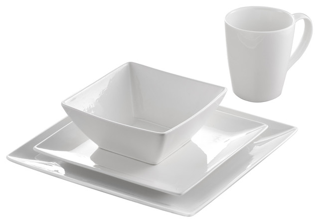 71a6c8d5bcb5 Roscher Pure Square Porcelain Dinnerware 32-Piece Set - Traditional - Dinnerware  Sets - by GNS SALES LLC