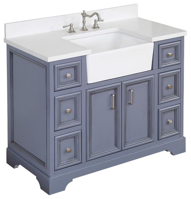 "Zelda Bathroom Vanity, Powder Gray, 42"", Top: Quartz, Single Sink"
