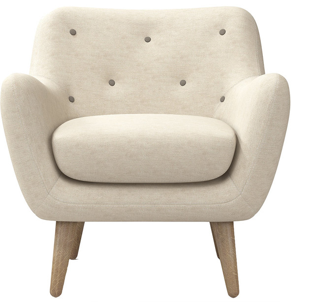 Emma Arm Chair, Cream midcentury-armchairs-and-accent-chairs - Emma Arm Chair, Cream - Midcentury - Armchairs And Accent Chairs