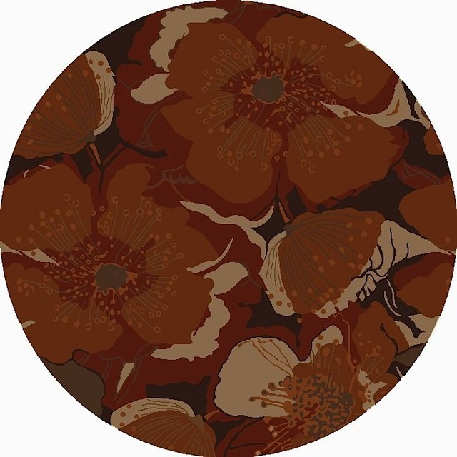 Country & Floral Athena Area Rug, Sepia, Burnt Sienna, Round 9.9&x27;.