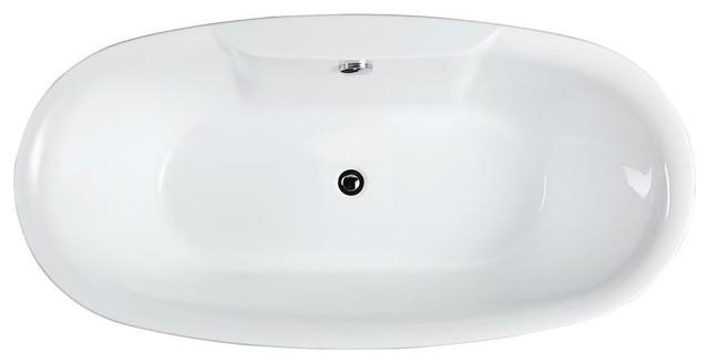 "Pisa 63"" Freestanding Bathtub, Glossy White."