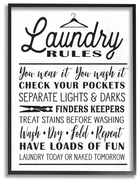 "Laundry Rules With Hanger Typography, 16""x20"", Framed Giclee Texturized Art."