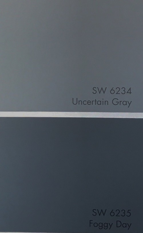 Need advice on cabinet color sw foggy day or uncertain gray Sherwin williams uncertain gray