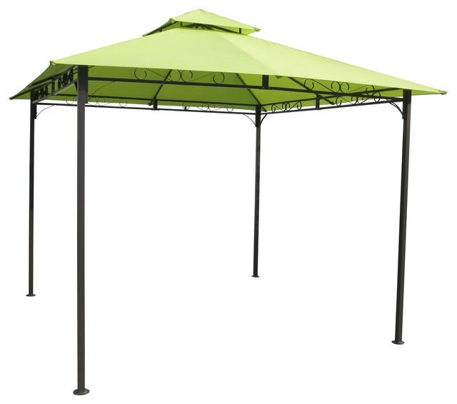 Weather Resistant Gazebo With Lime Green Canopy, 10&x27;x10&x27;.
