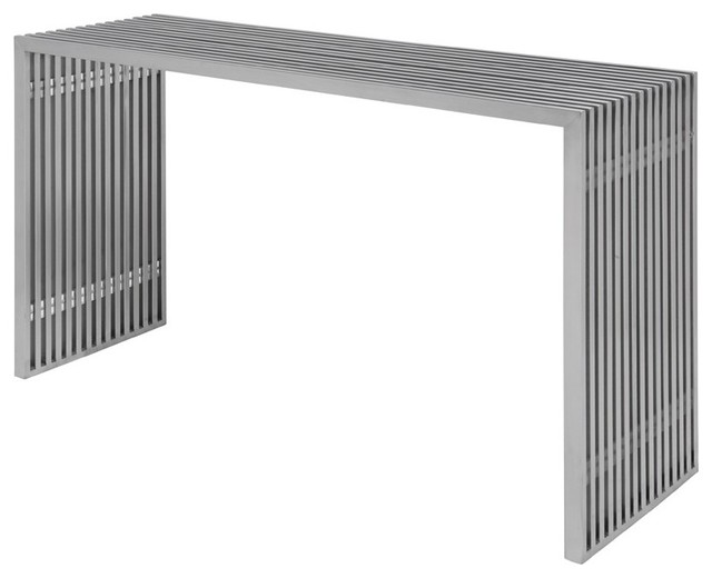 48 Quot Long Console Table Brushed Stainless Steel Linear