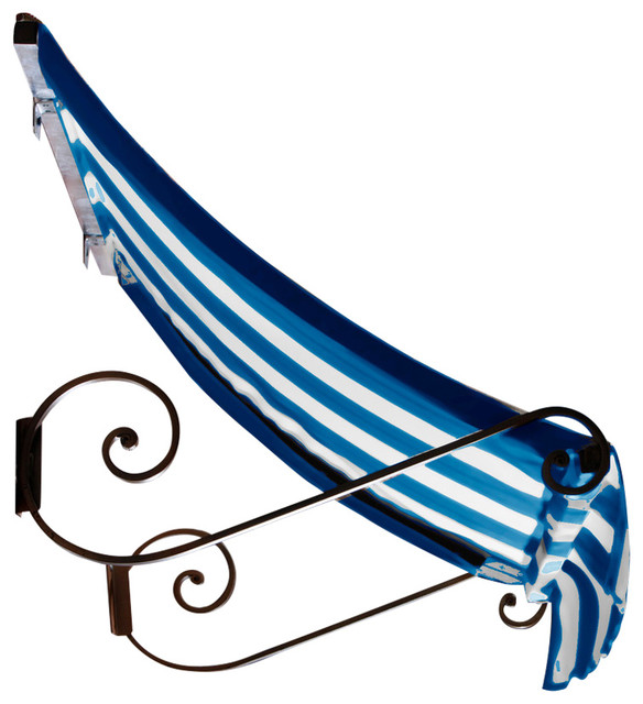 6&x27; Charleston Window Awning, 44 Hx24 D, Bright Blue And White.
