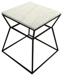 Prism Side Table With Marble Top, White