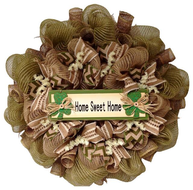 Home Sweet Home Irish Burlap Wreath Handmade Deco Mesh.