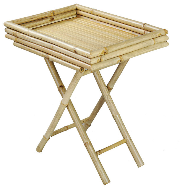 Kai Folding Bamboo Tray Table, Natural Asian Tv Trays