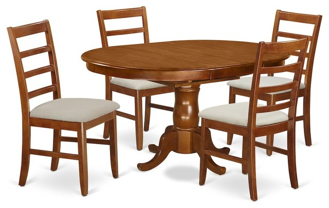 5 Piece Set Portland Dining Table Featuring Leaf And 4 Upholstered Seat Chairs