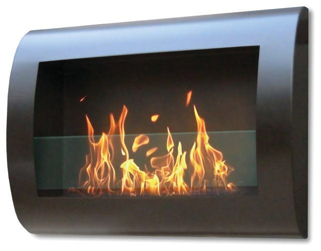 Chelsea Indoor Wall Mount Fireplace, Black Coated Metal With Glass Inserts.