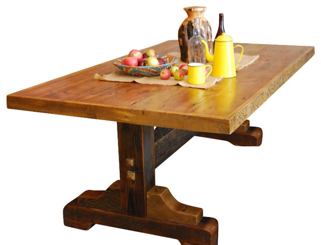 Black Mountain Reclaimed Wood Trestle Base Table 42x72 Rustic Dining