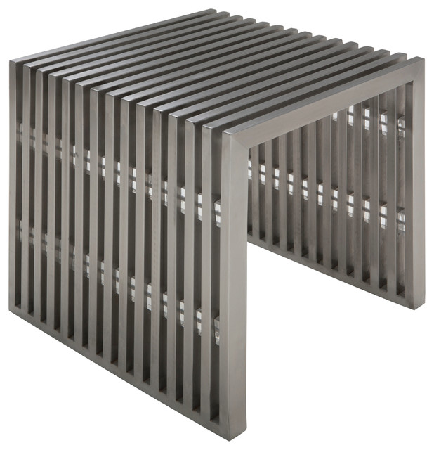Amici Jr Small Bench Brushed Stainless Steel By Nuevo