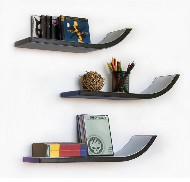 WeeK Four Stylish J Type Leather Wall Shelf / Floating Shelf (Set of 3)