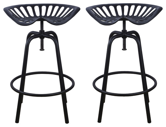 NACH Rustic Tractor Seat/Stool Set of 2 Black rustic-bar-  sc 1 st  Houzz & NACH Rustic Tractor Seat/Stool Set of 2 - Rustic - Bar Stools And ... islam-shia.org