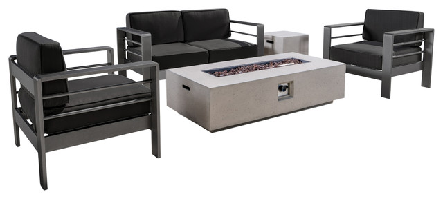 Coral Bay Outdoor Gray Aluminum 5 Piece Loveseat Chat Set With Fire Table, White.