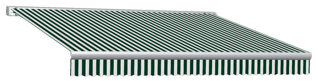 16&x27; Key West Full Cassette Right Remote Retractable Awning, Forest Green/white.