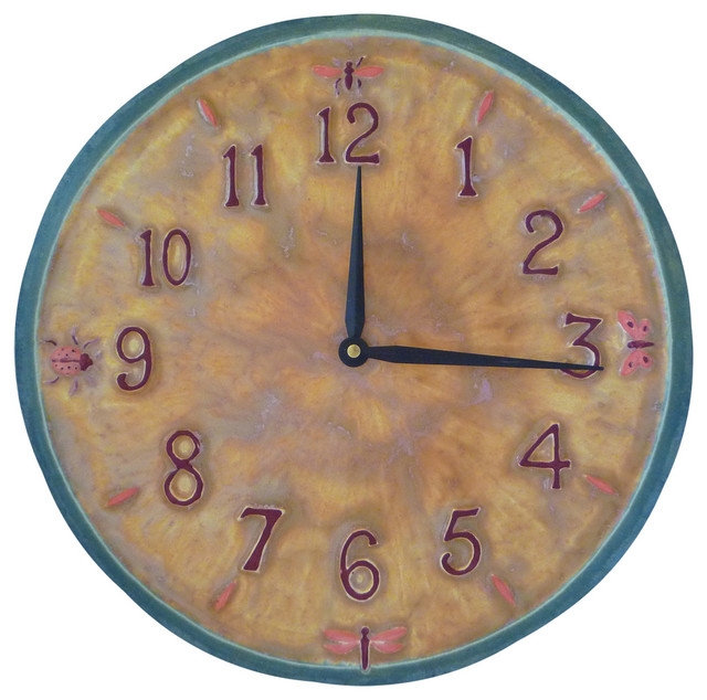Little Wings Ceramic Art Large Kitchen Wall Clock In Yellow Teal Pink