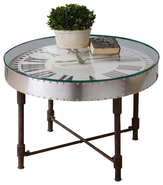 Shop Houzz Uttermost Uttermost Cassem Clock Coffee Table Coffee Tables