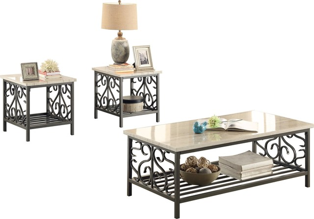 Terrific 3 Piece Faden Metal Occasional With Faux Marble Cocktail 2 End Table Caraccident5 Cool Chair Designs And Ideas Caraccident5Info