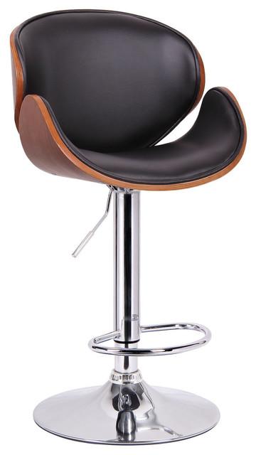 Baxton Studio Crocus Modern Bar Stool Black With Walnut