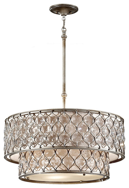 Feiss F2707 6BUS Lucia 6 Light Burnished Silver Chandelier Traditional Pe