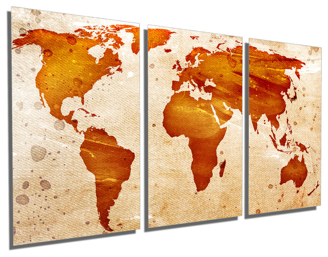 Abstract World Map Metal Print Wall Art 3 Panel Split Triptych Wall Art 48x24