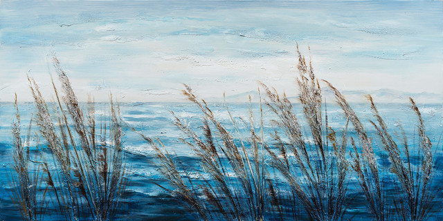 """""""Plants by the Water I"""" Hand Painted Canvas Art, 55""""x27.5"""""""