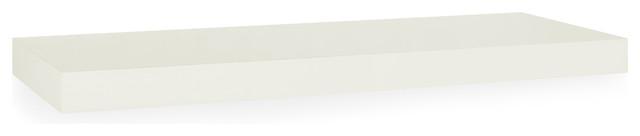 "Eco 36"" Floating Decorative Wall Mounted Shelf, Non Toxic zBoard, White"