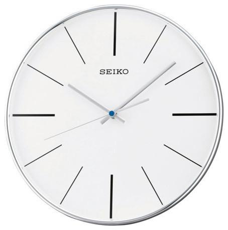 seiko silver tone quiet sweep wall clock white dial