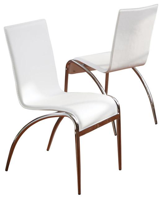 GDF Studio Aude White Modern Chairs, Set of 2
