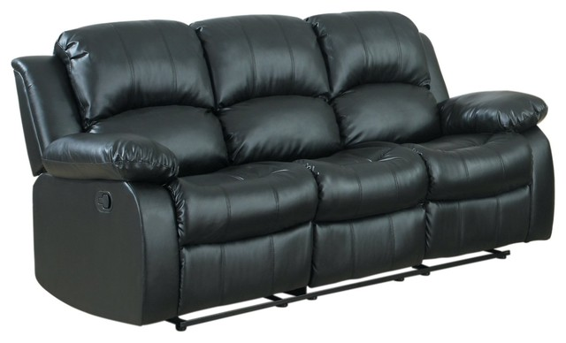 Recliner 3 Seater Sofa Black Over Stuffed Bonded Leather Chair
