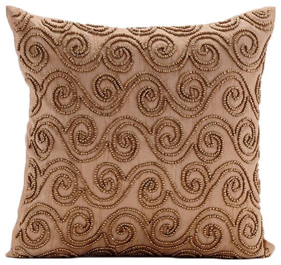 Gold Silk Decorative Pillow : Gold Scrolls Gold Decorative Pillow Covers, Art Silk Pillow Case, Gold Scrolls - Contemporary ...