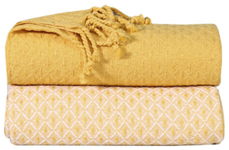 "50""x60"" Soft Cotton Cross Stitch Blanket Throws, 2-Pack, Yellow."