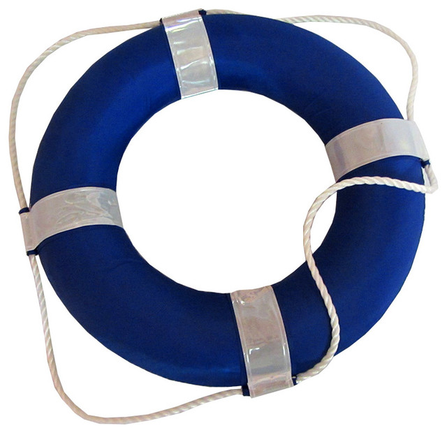 "Blue And White Foam Ring Buoy With Perimeter Rope, 19""."