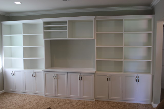 family room wall unit in white - traditional - los angeles -