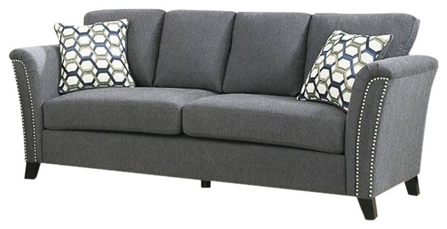 Campbell Contemporary Style Sofa With Nail Trim, Gray