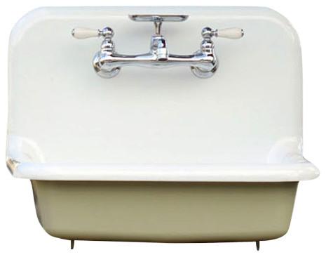Cast Iron Bathroom Sinks antique style high back farm sink cast iron porcelain wall mount