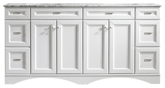 """Hemingway Double Vanity, White, Without Mirror, 72""""."""