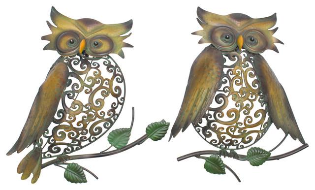 Metal Owl Wall Art, Set Of 2