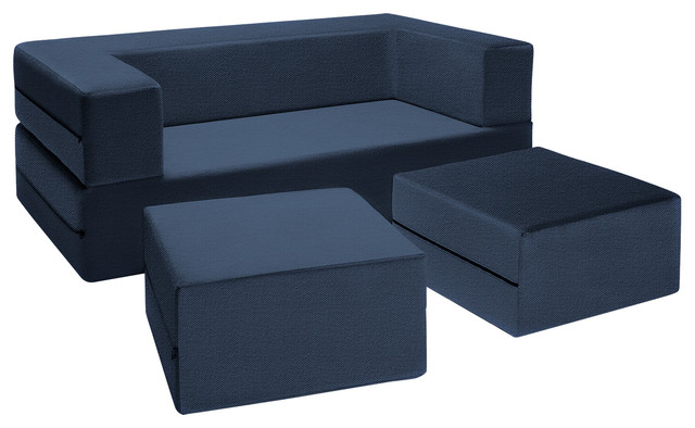 Zipline Convertible Sleeper Loveseat With 2 Ottomans 3