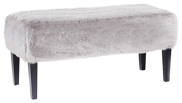 Ella Faux Fur Bench, Grey.