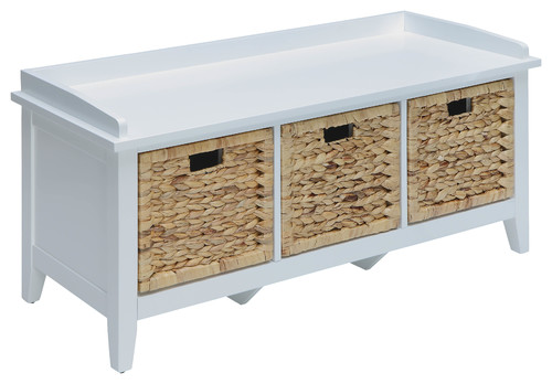 Storage Bench, Solid Wood Leg, Wood Veneer, White