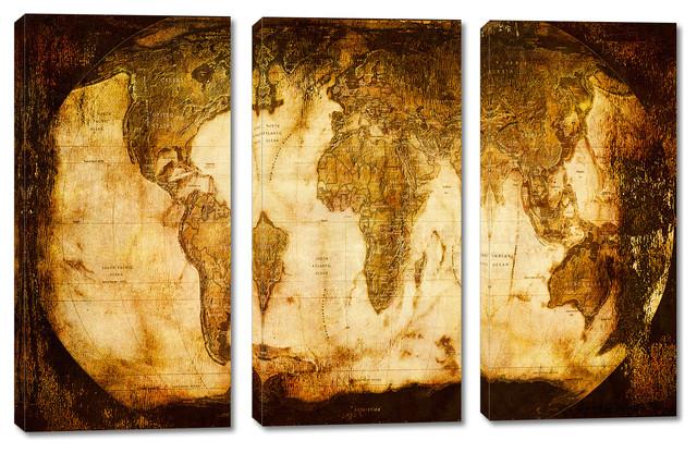 Rustic World Map Canvas Print 3 Panel Split Triptych Wall Art