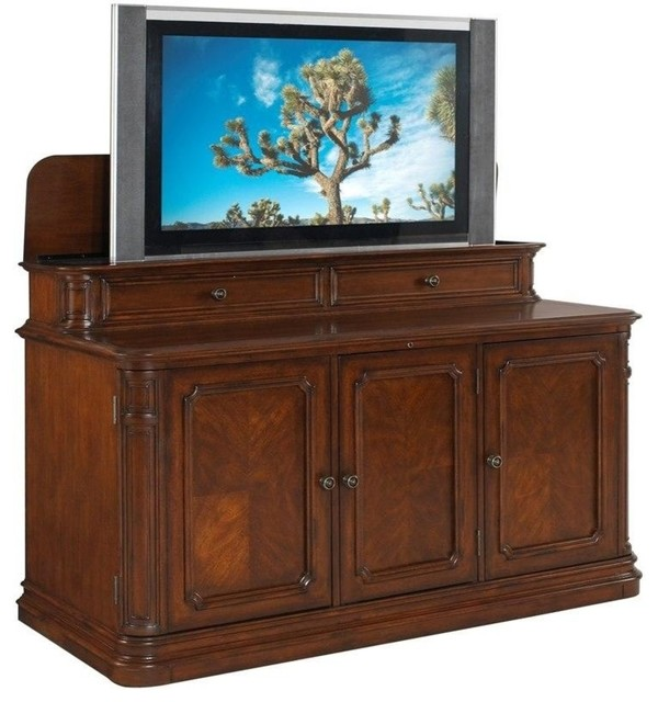 Banyan Creek, Large LCD TV Cabinet With Lift, Warm Brown Finish ...