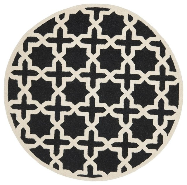 Round Rug In Black And Ivory 4 Ft Dia Contemporary