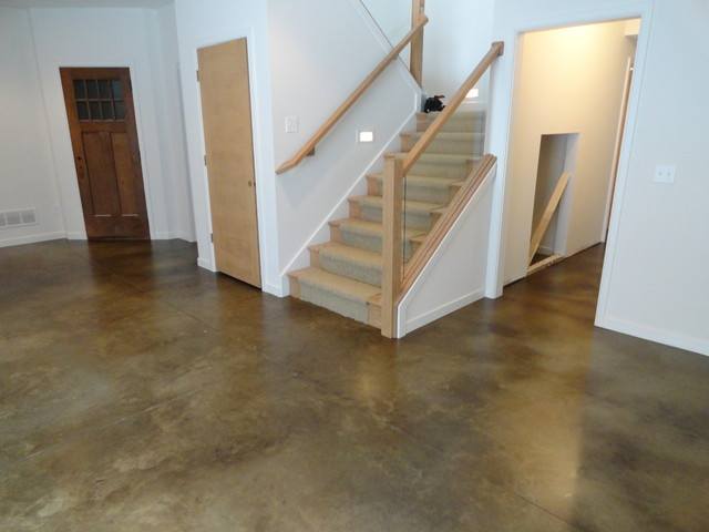 Stained Concrete Basement Floor Traditional